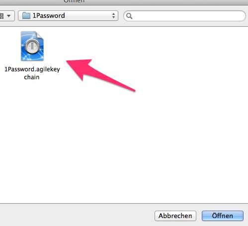 Alte Keychain in der DropBox auswählen